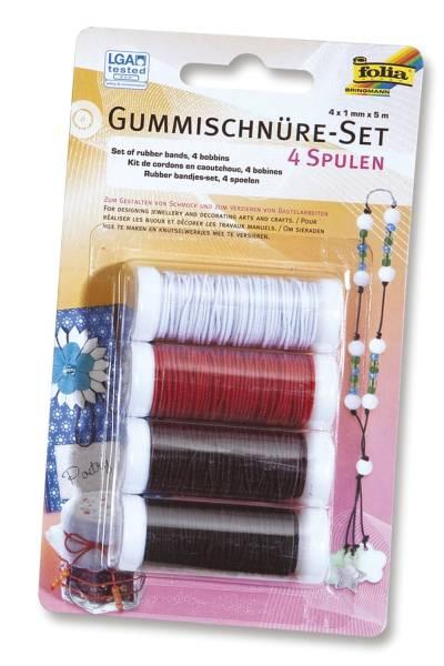 Gummischnüre Set 4 Spulen à 5 m, farbig sortiert