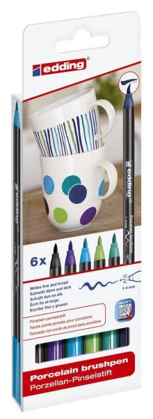 4200 Porzellan Pinselstift 1 4 mm, cool colour Set, 6 Farben sortiert