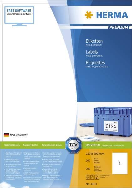 4631 Etiketten Premium A4, weiß 210x297 mm Papier matt 200 St