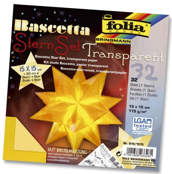 Bascetta Stern gelb, transparent, Ø 20 cm