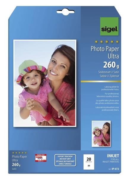 Inkjet Fotopapier Ultra A4, seidenmatt, 260 g qm, 20 Blatt