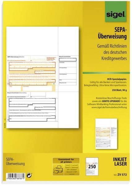 SIGEL PC-Formular Sepa-Überweisung ZV572 A4 250BL 90g