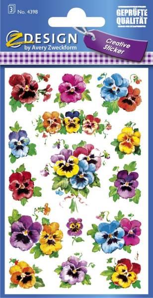 Z Design 4398, Deko Sticker, Stiefmütterchen, 3 Bogen 45 Sticker