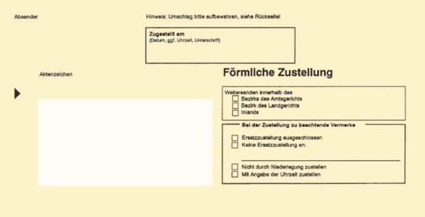 RNK Zustellungsumschlag 100ST gelb 2044/100 innen m.Fenster