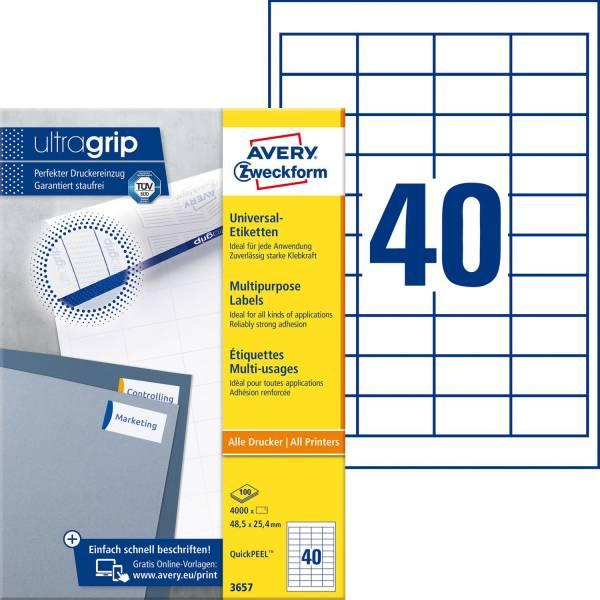 3657 Universal Etiketten 48,5 x 25,4 mm, weiß, 4 000 Etiketten 100 Blatt, permanent