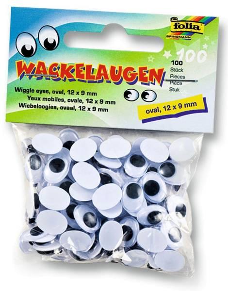 Wackelaugen Ø 12 x 9 mm, oval, 100 Stück