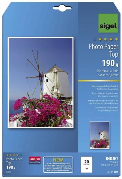 SIGEL Inkjet Fotopapier A4 20BL IP684 s'matt 190g