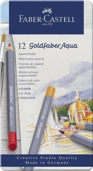 FABER CASTELL Aquarellfarbstiftetui Aqua 12ST sortiert 114612 Goldfaber