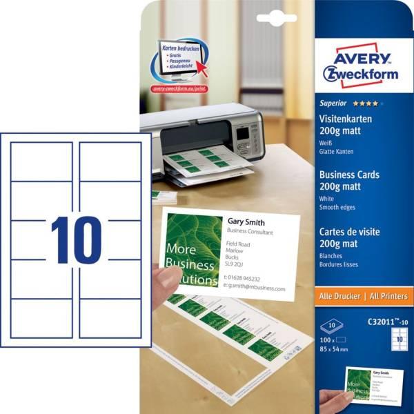C32011 10 Superior Visitenkarten, 85 x 54 mm, einseitig beschichtet matt, 10 Blatt 100 Stück