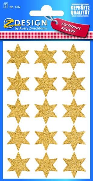 Z Design 4112, Weihnachtssticker, Sterne, 2 Bogen 30 Sticker