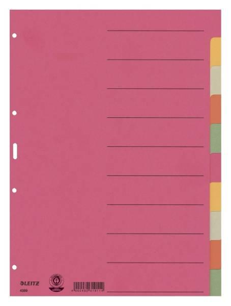 LEITZ Register A4 blanko bunt 10tlg. 43590000 Karton fbg.Tabs
