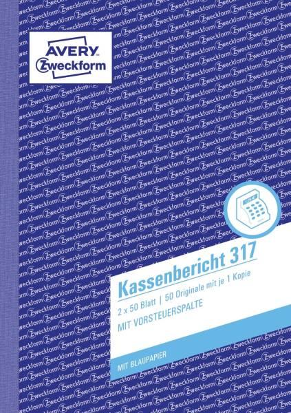 317 Kassenbericht, DIN A5, vorgelocht, 2 x 50 Blatt, weiß, gelb