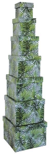 Geschenkkarton Palmenblatt grün 1528 7tlg Würfel