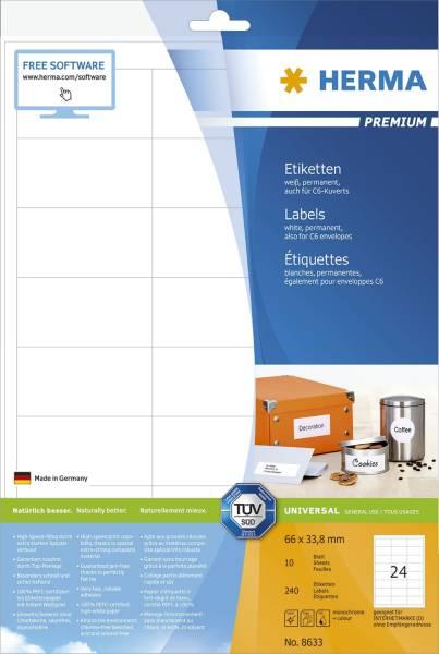 HERMA Etiketten Premium 66x33,8mm weiß 8633 240 St. permanent haftend
