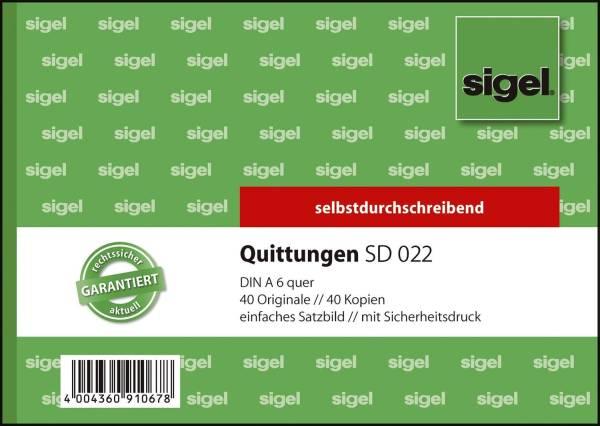 Quittungen mit Sicherheitsdruck A6 quer, einfaches Satzbild, 1 und 2 Blatt bedruckt, SD, MP, 2 x 40