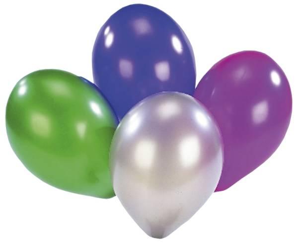 Luftballon rund, metallic, sortiert, 8 Stück