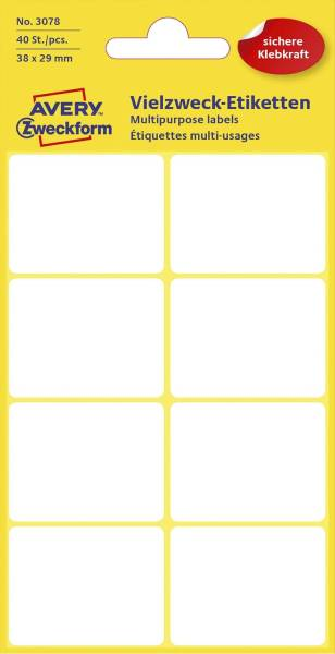 3078 Mini Organisations Etiketten, 38 x 29 mm, 5 Blatt 40 Etiketten, weiß