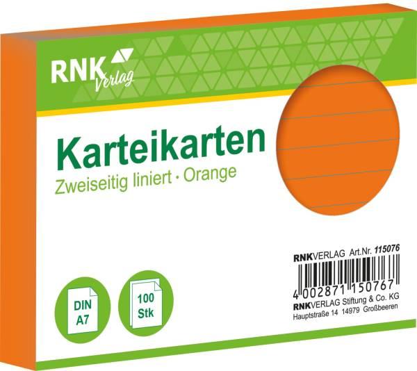 RNK Karteikarte A7 100 ST orange 115076 liniert