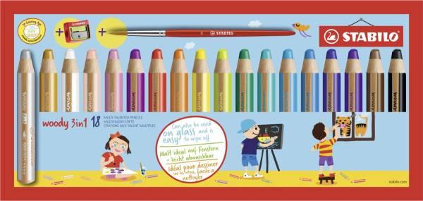 Multitalent Stift woody 3 in 1, 18er Kartonetui + 1 Spitzer + 1 Pinsel