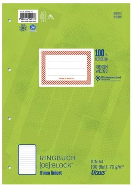 URSUS green Ringbuchblock A4 lin. 100BL 044380 10