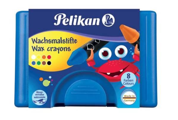 PELIKAN Wachsmalstiftetui 8ST blau 722959 666/8 wasserlöslich