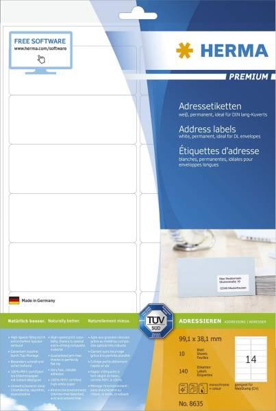 8635 Premium Etikett weiß, 99,1x38,1 mm, permanent, 140 Stück