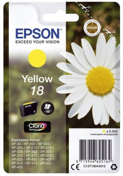 EPSON Inkjetpatrone Nr. 18 sw,c,m,y C13T18064012 4ST