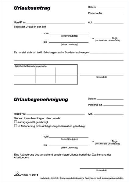 Urlaubsantrag Block, 50 Blatt, DIN A5
