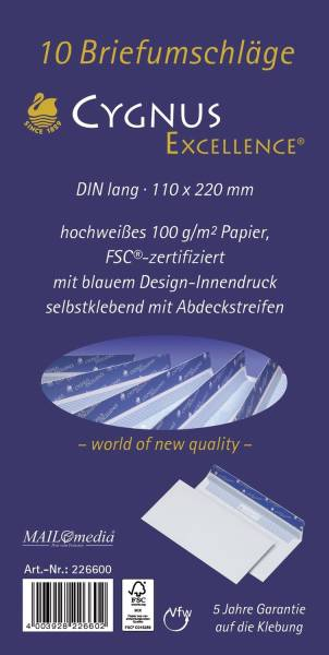 Briefumschlag DL, haftkebend, weiß, Offset 100g, 10 Stück