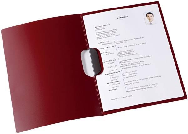 Bewerbungsmappe job basic clip fix PP 0,5 mm, 30 Blatt A4, bordeaux