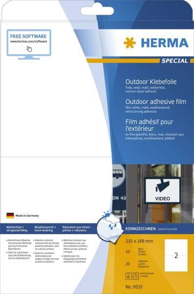 HERMA Folienetiketten Outdoor A5 weiß 9535 wetterf. 20 St. extra stark