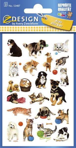 Z Design 53487, Kinder Sticker, Katzen, Hunde, 3 Bogen 63 Sticker