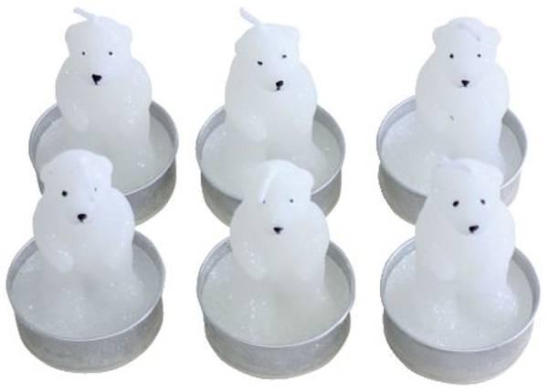 """Teelichter Weihnachten """"Eisbär"""" 6 Stück"""