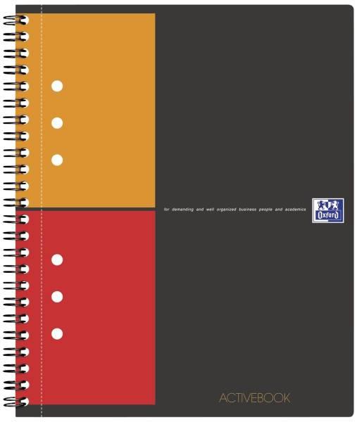 International Activebook A5+, 5 mm kariert, 80 Blatt, Register und Dokumententasche, grau