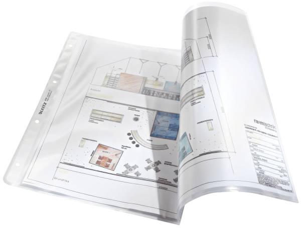 4723 Prospekthülle Premium mit Einreißschutz, A3 quer, PP, genarbt, dokumentenecht, farblos