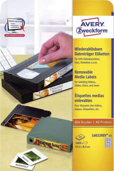 L6022REV 25 Etiketten für Data Cartridge, wiederablösbar, 63,5 x 8,5 mm, 25 Blatt 2 400 Etiketten, w