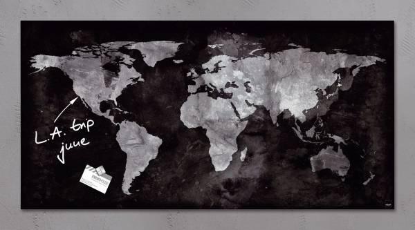 Glas Magnetboard artverum Weltkugel, schwarz, 91 x 46 cm®
