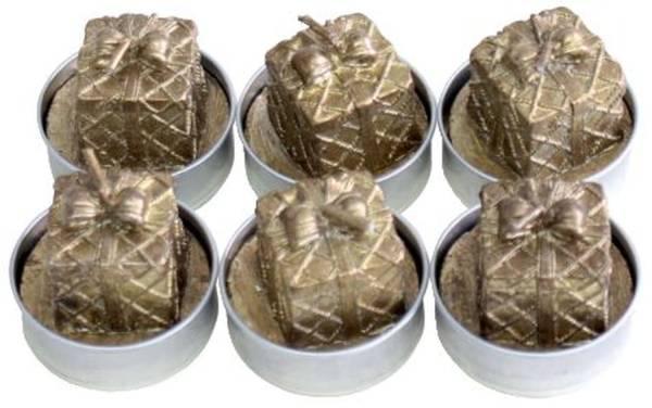 Weihn.Teelicht 6ST Paket gold 19015-3009-10