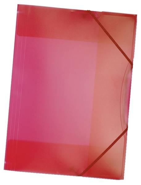 Sammelmappe mit Gummiband, DIN A3, transparent, rot