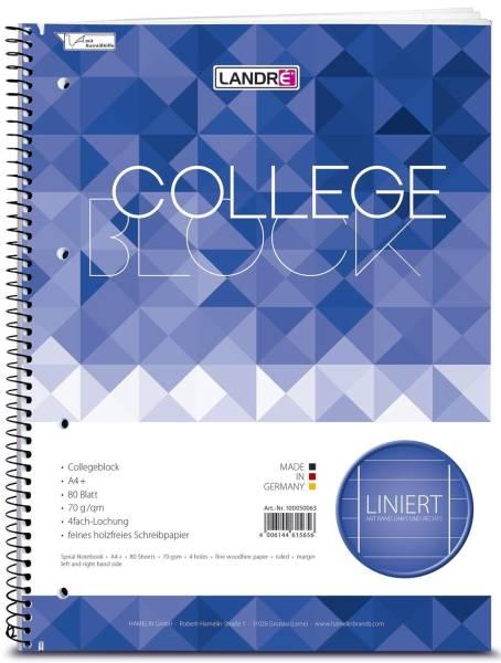 Collegeblock chlorfrei 70 g qm, A4+, 9mm liniert, beidseitig Rand, LIN 37, 80 Blatt