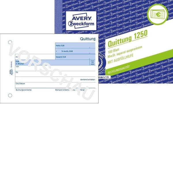 1250 Quittung MwSt separat ausgewiesen A6 quer, MP, fälschungssicher, 100 Blatt, weiß