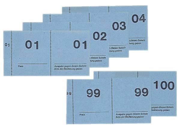 Nummernblock 1 100, 5 farbig sortiert, 105x50 mm, 100 Blatt
