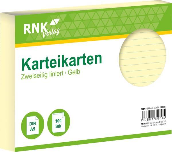 Karteikarten DIN A5, liniert, gelb, 100 Karten