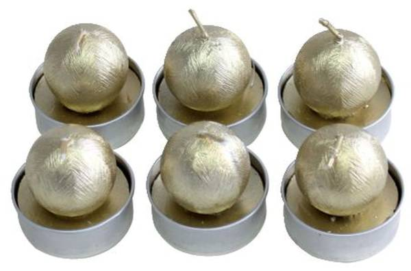 Weihn.Teelicht 6ST Kugel gold 19043-4009