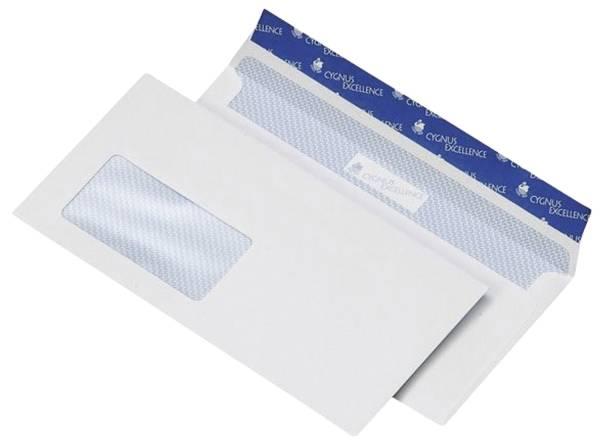 Briefumschlag 114x229mm, haftkebend, weiß, Offset 100g, 500 Stück mit Fenster