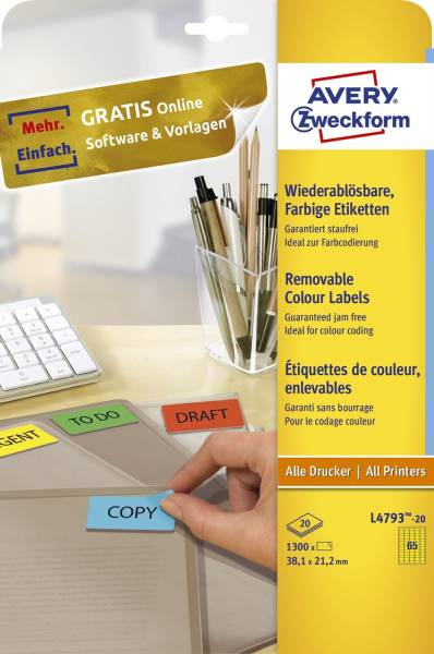 L4793 20 Farbige Etiketten, wiederablösbar, 38,1 x 21,2 mm, 20 Blatt 1 300 Etiketten, gelb