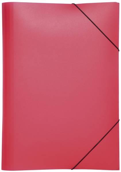 Gummizugmappe Lucy Basic A4, rot, PP, 3 Einschlagklappen