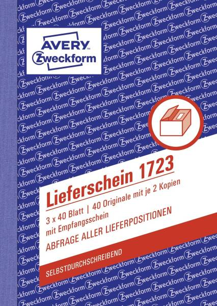 1723 Lieferscheine mit Empfangsschein, DIN A6, mit Empfangsschein, 3 x 40 Blatt, weiß, gelb, rosa
