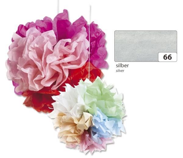 Blumenseide 50 x 70 cm, 5 Bogen, silber