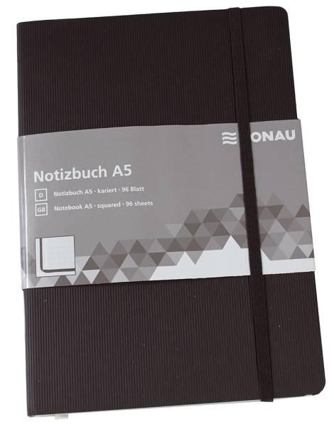 Notizbuch A5, kariert, 192 Seiten, schwarz